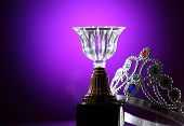 stock photo of crown jewels  - crystal trophy and the crown - JPG