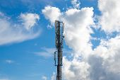 stock photo of antenna  - Antennas on mobile network tower - JPG