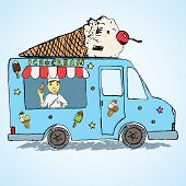 stock photo of hand truck  - Hand drawn sketch Ice Cream Truck Colorfiled and Playful with yang man seller and Ice Cream cone on top - JPG