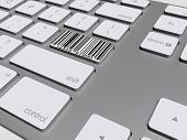 pic of barcode  - barcode button on the keyboard 3d illustration - JPG