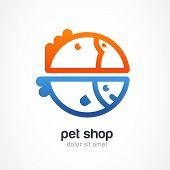 image of veterinary  - Tropic bird and fish line symbol - JPG