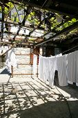 picture of no clothes  - drying clothes in the courtyard of the house in the town of Zlatograd in Bulgaria in the spring - JPG