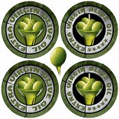 foto of olive shaped  - Collections of four round icons or symbol with green olives and oil text Extra virgin olive oil and five stars - JPG