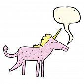 foto of unicorn  - cartoon unicorn with speech bubble - JPG