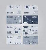 stock photo of visitation  - Set of eight blue and gray scientific geometric visit cards - JPG