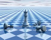 image of surreal  - abstract surreal background with blue chess and chessboard 3d illustration vision concept - JPG