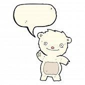 picture of bear cub  - cartoon waving polar bear cub with speech bubble - JPG