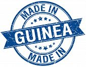 picture of guinea  - made in Guinea blue round vintage stamp - JPG