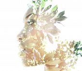 stock photo of combine  - Double exposure portrait of attractive woman combined with photograph of nature - JPG