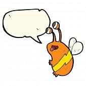 foto of bee cartoon  - cartoon funny bee with speech bubble - JPG