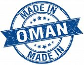 picture of oman  - made in Oman blue round vintage stamp - JPG
