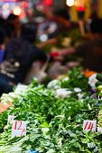 pic of stall  - Variety of fresh green herbs on market stall - JPG