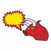 picture of bull head  - cartoon angry bull head with speech bubble - JPG