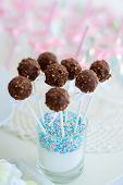 picture of cake pop  - Chocolate cake pops on a dessert table at party or wedding celebration - JPG