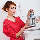 pic of little girls photo-models  - beautiful girl with a lamp shines the room - JPG