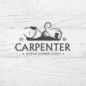 pic of carpentry  - Carpenter design element in vintage style for logo - JPG