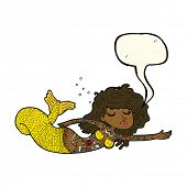 picture of mermaid  - cartoon mermaid covered in tattoos with speech bubble - JPG