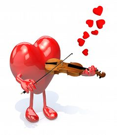 stock photo of peg-leg  - heart with arms and legs who plays the violin 3d illustration - JPG