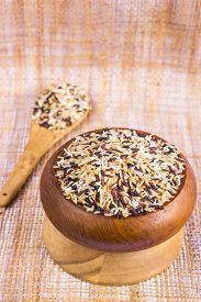 picture of rice  - Food Background With Of Five Rice Variety  - JPG