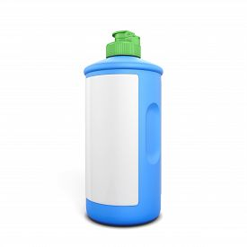 picture of detergent  - Blue bottle of detergent with label isolated on white background - JPG