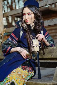 image of national costume  - Young Girl in National Northen Vietnam Tribal Costume - JPG