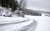 image of snowy-road  - frozen snowy road - JPG