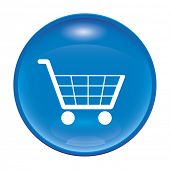 An image of a glossy blue shopping icon