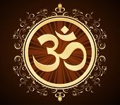 stock photo of om  - golden om symbol in floral frame - JPG
