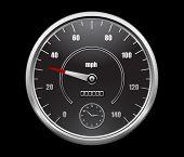 stock photo of meter stick  - speedometer on black background - JPG