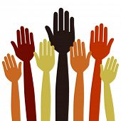 stock photo of hands up  - Hands volunteering or voting vector - JPG