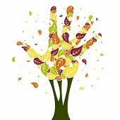 foto of fall trees  - Leaves falling from a hand shaped tree vector - JPG