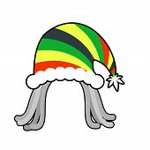 Постер, плакат: Rasta Cap For Santa Claus Rastaman Dreadlocks Festive Hat Reggae Style Hood For Holiday