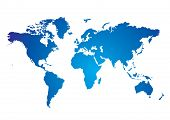 Blue and white Illustrated world map with white background poster