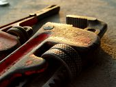 stock photo of pipe wrench  - pipe wrench