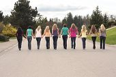 stock photo of walking away  - Ten beautiful girls - JPG
