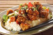 stock photo of chinese food  - Sweet and sour pork and rice - JPG