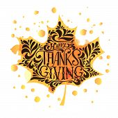 Happy Thanksgiving Icon, Logo Or Badge poster