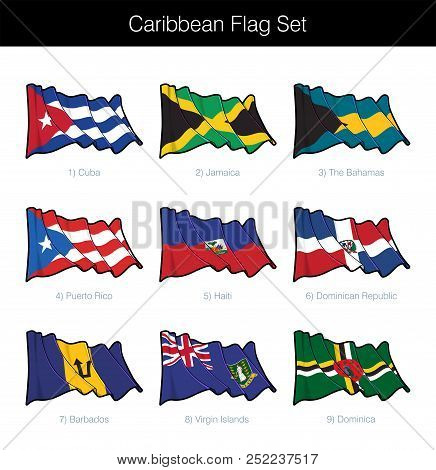 Poster: Caribbean Waving Flag Set The