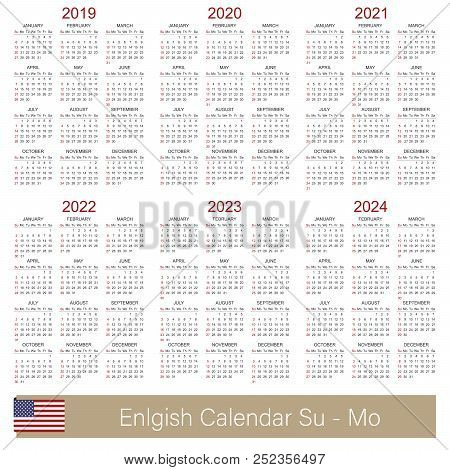 English Planning Calendar 2019 2024 Week Starts On Sunday Simple