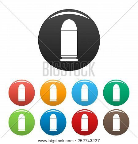 poster of Single Cartridge Icon. Simple Illustration Of Single Cartridge Icons Set Color Isolated On White