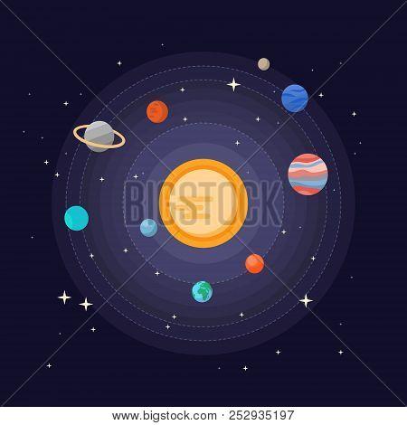 Solar System Vector Illustration Cute