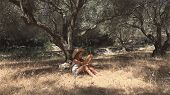 Sad Child Playing In Olive Orchard, Meditative Kid, Bored Girl Relaxing By Tree poster