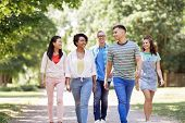 people, friendship and international concept - group of happy friends walking in park poster