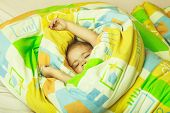 Childhood And Happiness. Trust And Tenderness. Small Baby Dreaming. Child Sleep In Bed. Sleepy Baby  poster