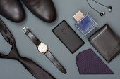 Necktie, Mens Shoes, Watch With Leather Strap, Mobile Phone, Ha poster