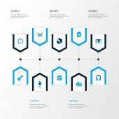 Audio Icons Colored Set With Octave, Timbrel, Dossier And Other Vinyl Elements. Isolated  Illustrati poster