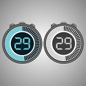 Постер, плакат: Electronic Digital Stopwatch Timer 29 Seconds Isolated On Gray Background Stopwatch Icon Set Time