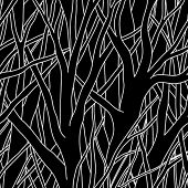 Black Trees. Seamless vector wallpaper