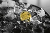 Gold Titan Coin On Ice Background. Blockchain Mining. Digital Money And Virtual Crypto Currency Conc poster