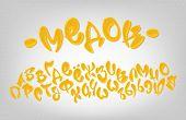 Honey Hand Drawn Cyrillic Typeset, Sweet Alphabet, Vector Illustration. poster